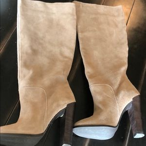 Tan genuine suede slouchy boot